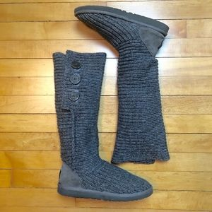 UGG Gray Classic Cardi Sweater Boot